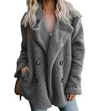 Elegant Faux Fur Coat 2020 Casual Lapel Fleece Fuzzy Faux Shearling Button Coats Women Warm Winter O