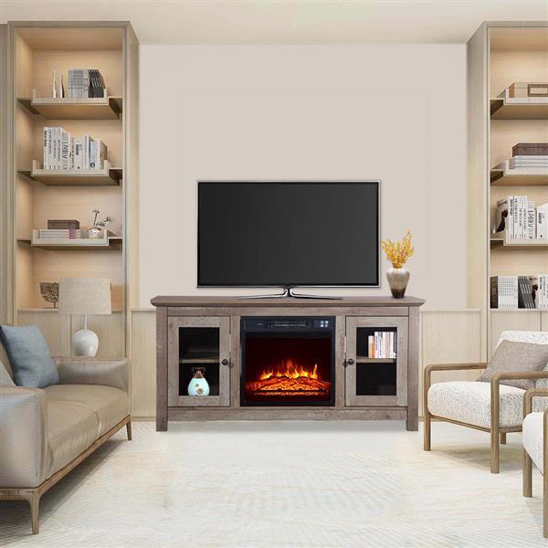 51 inch Log Cyan Fireplace TV Cabinet 6