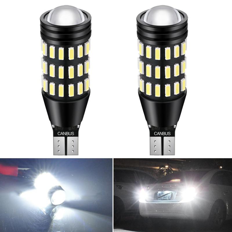 2pcs 2400LM T16 T15 W16W LED Canbus Bulb High Power 921 912 Reverse Lights Super Bright Car Exterior Lamp 6500K White 12V DC