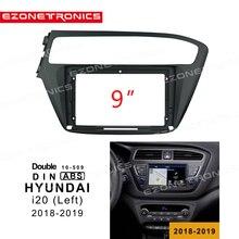 1 2din carro dvd quadro adaptador de montagem de áudio kits guarnição traço painel facia 9 polegada para hyundai i20 esquerda 2018 19 duplo din rádio player