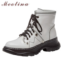 Meotina Real Leather Ankle Boots Women Shoes Rivet Round Toe Flat Platform Short Boots Lace Up Lady Boots Autumn Winter White 40 autumn winter ankle boots women platform boots lace up black white leather rubber boots woman shoes comfortable women s boots