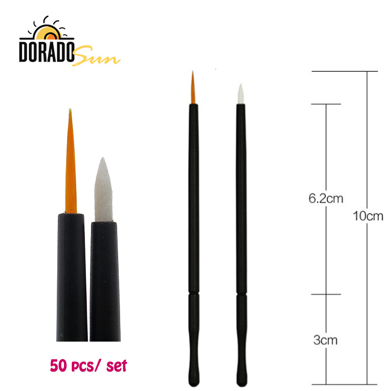Doradosun 50 Pcs Disposable Eyeliner Brush Soft Fiber  Portable Eye Shadow Eyeliner Paste Brush Kits