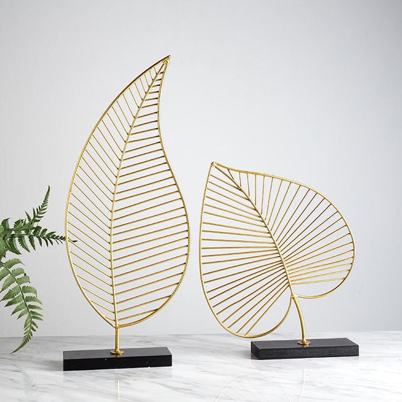 Nordic Creative Modern Plant Ornament Bedroom Home Decoration Accessories For Living Room Gold Iron Shape Crafts Desktop Decor