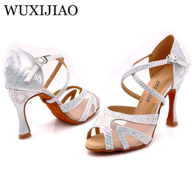 WUXIJIAO Diamond Silver Satin Latin Dance Shoes Ladies Salsa Party Rhinestone Ballroom Dancing Shoes Women's Shoes 9cm