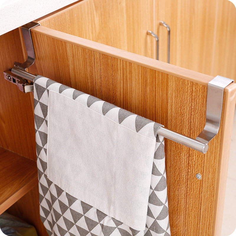 Two Dimensions On The Door Of The Bathroom Towel Rack Stainless Steel Bar Mounts Toilet Kitchen Cabinets