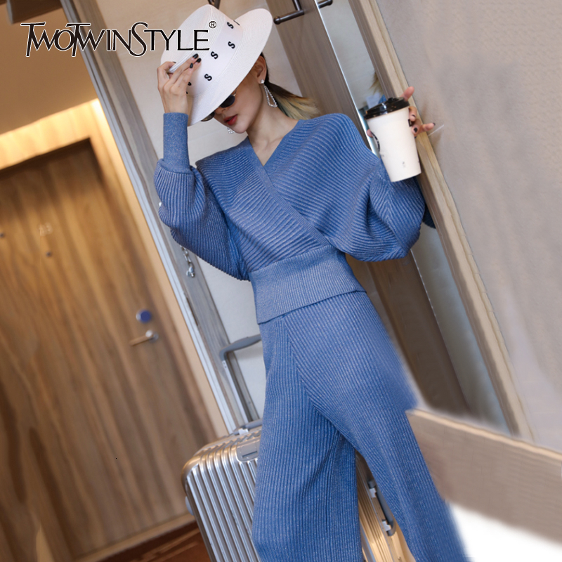 TWOTWINSTYLE Knitted Two Piece Sets For Women V Neck Batwing Sleeves Sweaters High Waist Wide Leg Pants 2020 Autumn Fashion New