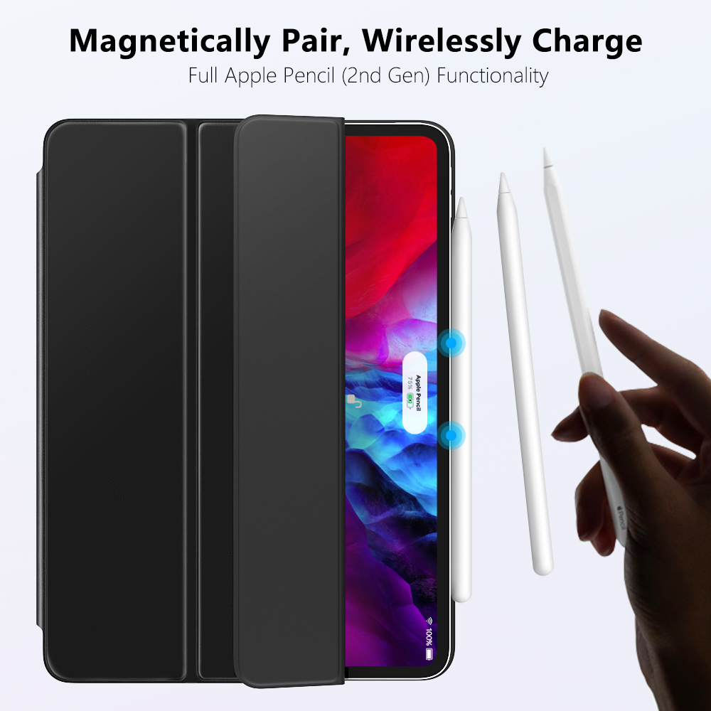 Smart Folio Case For iPad Pro 12 9 2020 4th Generation Support Magnetically Attach Charge Pair