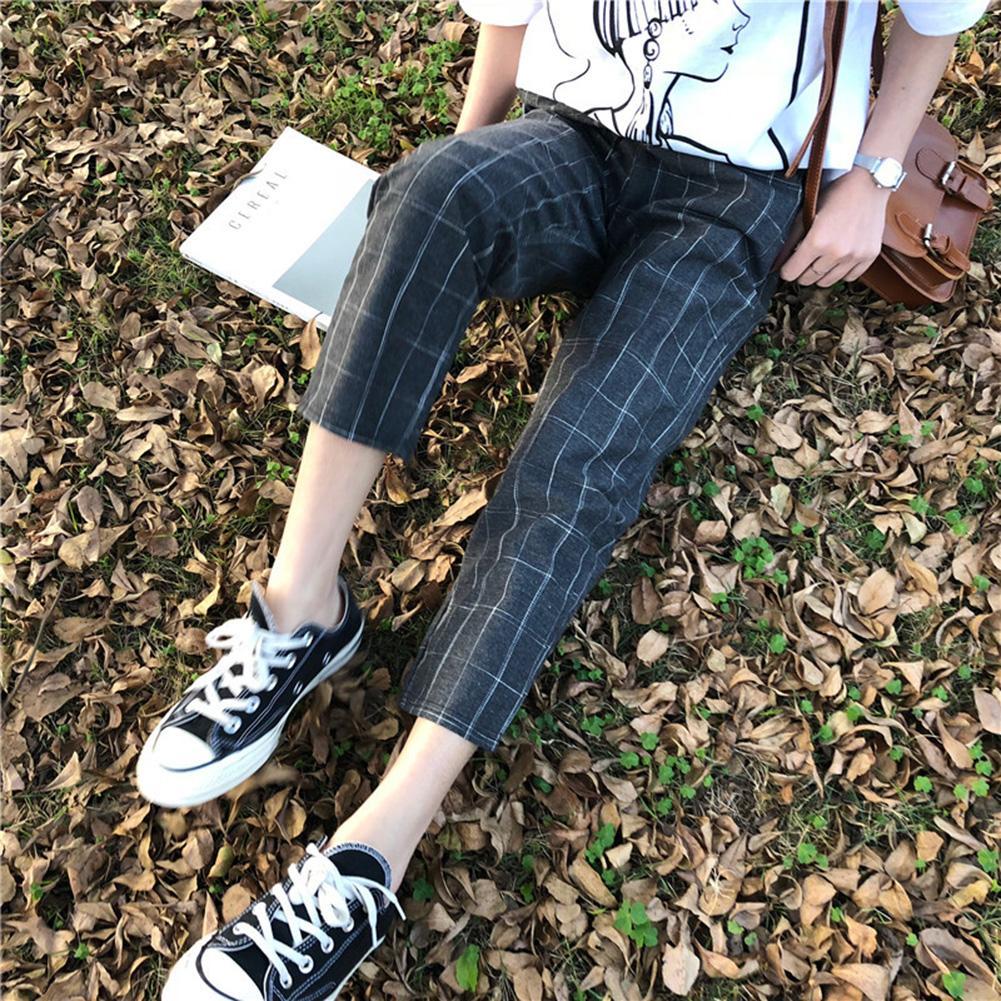 Fashion Women Plaid Loose Casual Drawstring Ninth Carrot Harem Pants Trousers