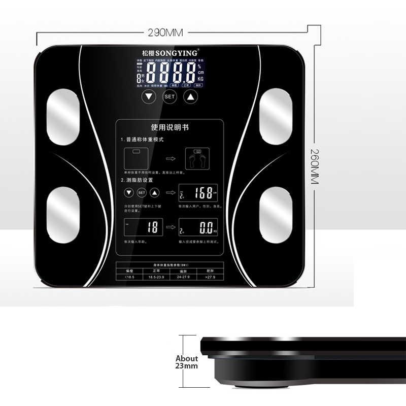 Nowa waga cyfrowa wagi telefon bezprzewodowy odbiór inteligentny korpus waga podłogowa wagi BMI Monitor analizator zdrowia Fitness stracić