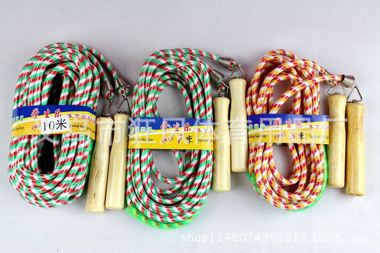 Bag Rough 10 M Collective Groups Jump Rope Wooden Handle Students Multi-seat Cotton Rope