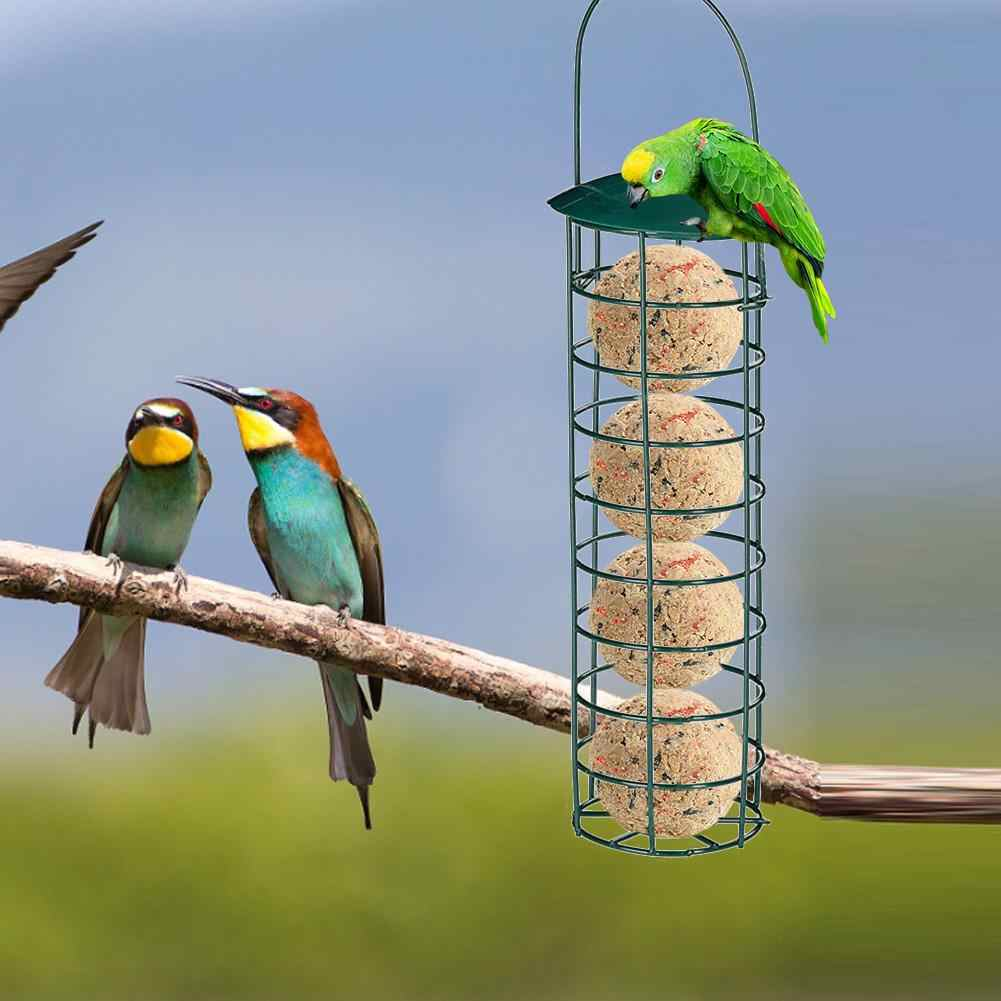 Bird Feeder Outdoor Menggantung Mesh Makan Portable Burung Liar Besi Grease Ball Pemegang Produk Taman Pohon Taman Kontainer 4