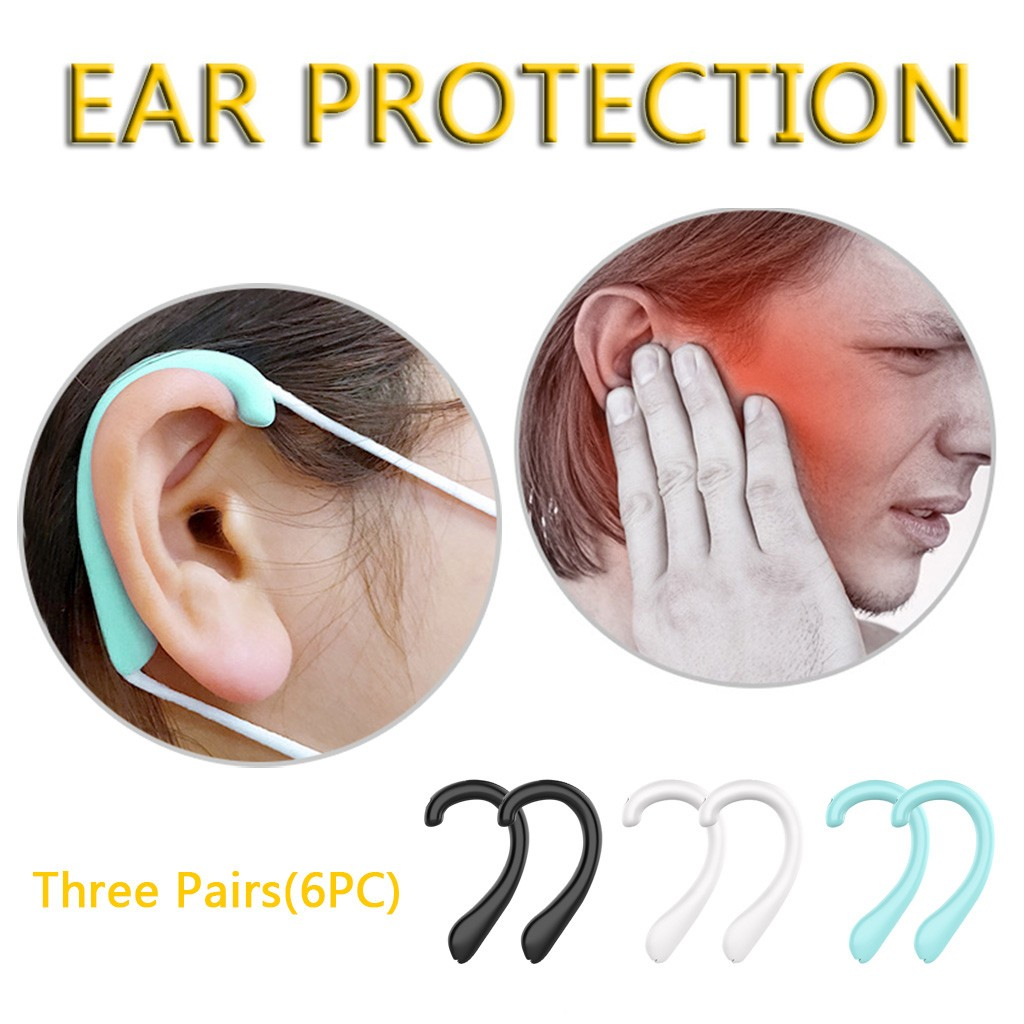 Unisex 3 Pairs Universal Safety Anti-pollution Mask Ear Protection Comfortable Silicone Earmuffs Mouth Mask Accessory