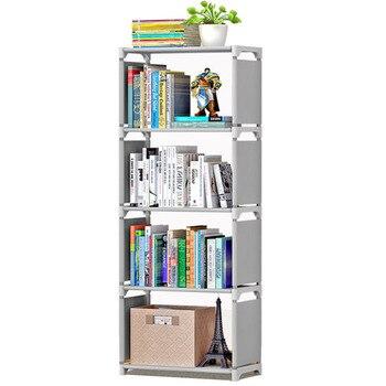 цена Metal Bookshelf Floor Standing Corner Closet Assemble Simple Bookcase Home Furniture Book Stand Sundries Organizer Display Shelf онлайн в 2017 году