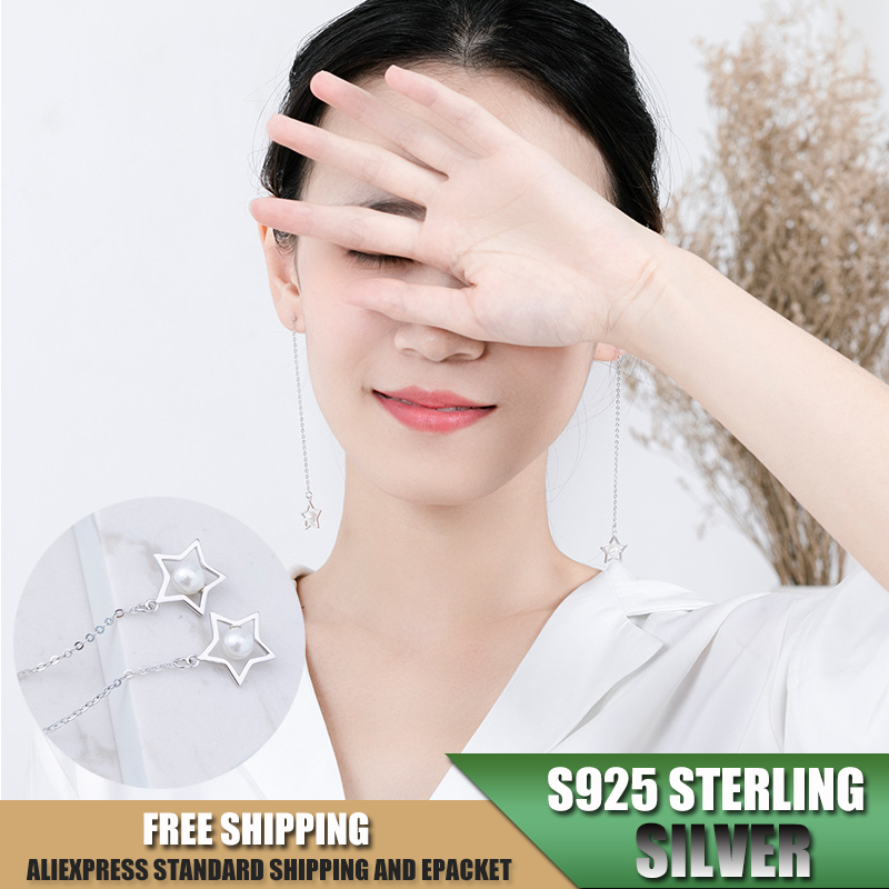 Star Shape S925 Sterling Silver Tassels Earrings for Women Earrings with Pearl Fashion Jewelry Accessories Wholesale B111