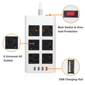 Image 3 - Power Strip Flat 6 Port Universal Sockets EU/UK/US Plug with 4 USB Charger Port 2500W Surge Protections  Circuit Breaker