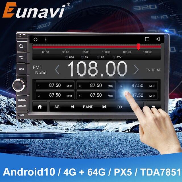 Eunaviユニバーサル2 din 7 アンドロイド10車のラジオステレオマルチメディアプレーヤー2din gpsナビゲーション4グラム無線lan usb TDA7851タッチスクリーンbt