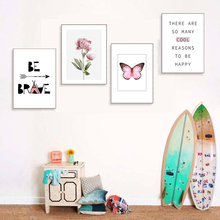 Flower Wall Art Canvas Painting Arrow Nordic Poster Quotes Print Butterfly Pictures For Living Room Decor