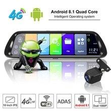 Android 8.1 wideorejestrator samochodowy nawigacja GPS kamera 10 Cal FHD 1080P strumień mediów lusterko wsteczne 4G GPS lustro wideorejestrator samochodowy