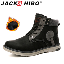Jackshibo 2020 Winter Ankle Snow Boots Shoes For Men Warm Fur Lining Snow Boots Plush Warm Men Waterproof Motorcycle Boots Men