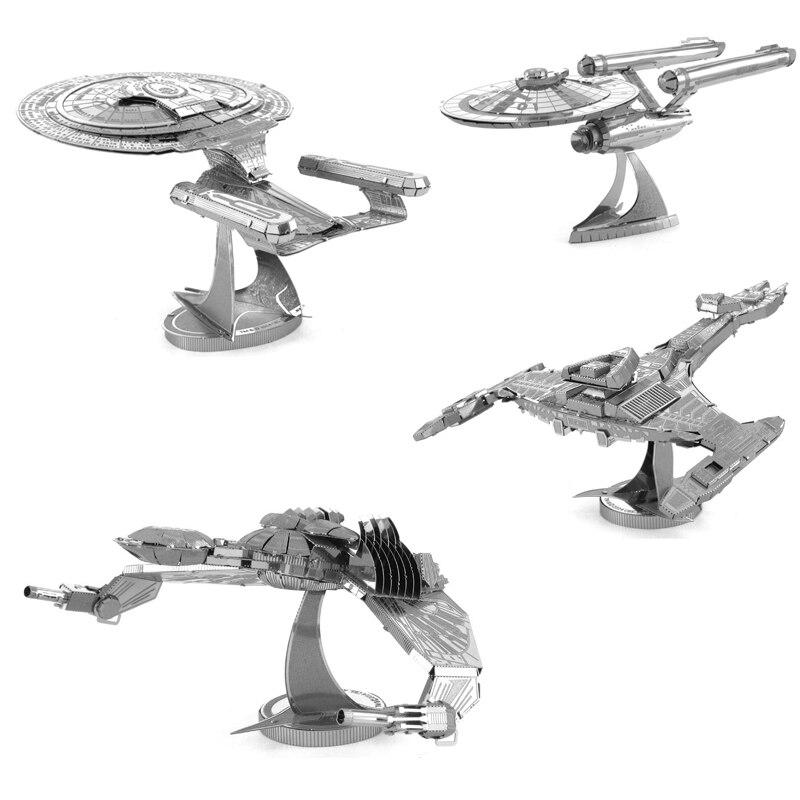 Star Trek 3D Metal Puzzle nave espacial modelo kits DIY corte láser ensamblar rompecabezas juguete de escritorio decoración regalo para auditoría de niños Gran tamaño de bloques Compatible LegoINGlys Duploed Casa de la ciudad techo partícula grande edificio Castillo de bloques de ladrillo juguetes para los niños