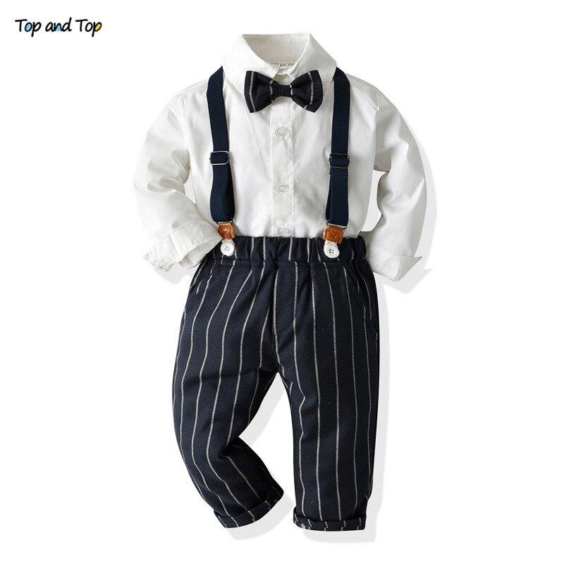 トップとトップ子供少年服紳士セット長袖ボウタイシャツ + サスペンダーストライプパンツ服衣装子供衣装