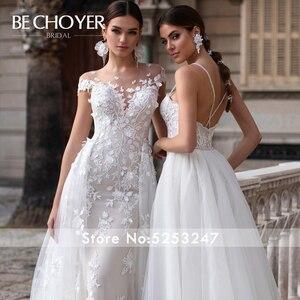 Image 5 - Mode Abnehmbare Zug Hochzeit Kleid BECHOYER K149 Appliques Spitze 3D Blumen Meerjungfrau Illusion Braut Kleid Vestido de Noiva