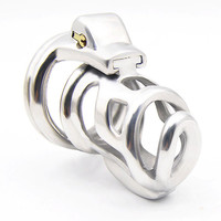 FAAK Stainless Steel Chastity Device Bondage Product Male Penis Cage Cockrings Locking Slave Restraint Cage Sex Toys for Men