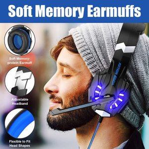 Image 2 - Her oyun kulaklık Stereo aşırı kulak oyun kulaklık bandı kulaklık Mic ile LED ışık PC Gamer için + 6 düğme pro oyun fare