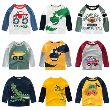 Boys Long Sleeves T-Shirts Children's Print Dinosaur Cartoon Cotton T Shirt Baby Girls Tops Kids Tees Infant Clothing Clothes children t shirt long sleeves kids boys girls cotton tops baby dinosaur print cartoon clothing tee 2 8 years clothes full