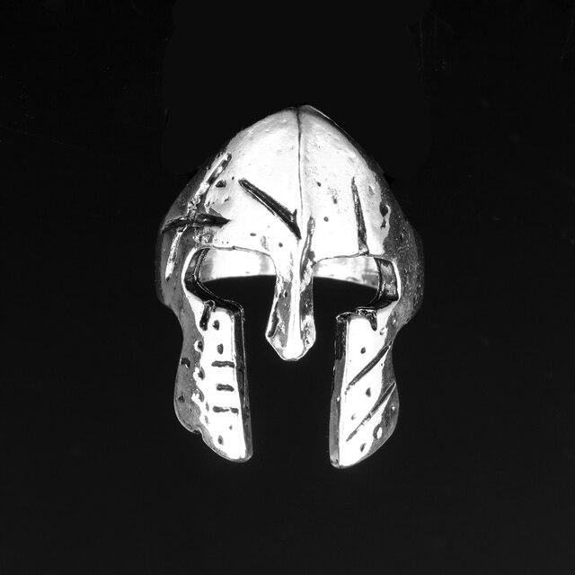 Men Spartan Helmet Ring Sparta Spartacus Warrior Skull Mask Rings Norse Mythology Biker Viking Jewelry Size 6-12