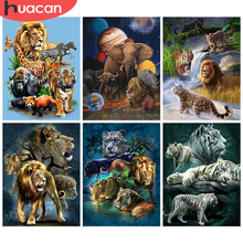 HUACAN Full Square/Round Diamond Painting Lion Animal Mosaic Tiger 5D DIY Diamond Embroidery Elephant Home Decor Kits