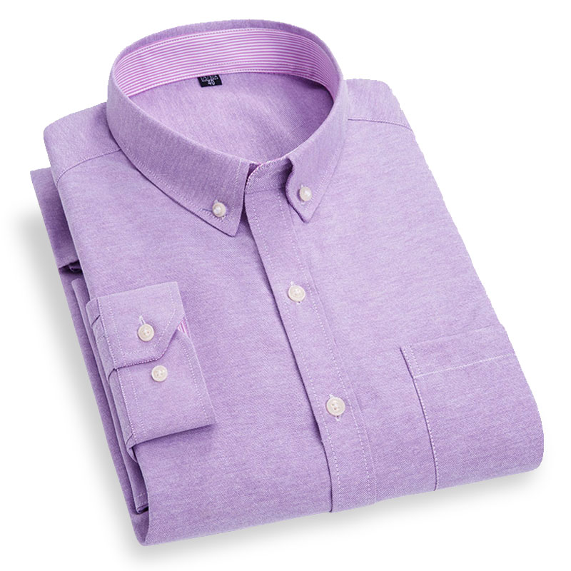 Spring Autumn New Men's Long Sleeve Oxford Shirts Fashion Solid Color Regular Fit Button-down Collar Social Soft Casual Shirt
