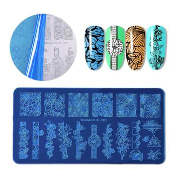 SHOPANTS 6*12CM Geometric Nail Stamping Plates Rectangle Flower Leaves Design Image Nail Art Stamp Stencils Manicure Templates image