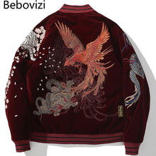 Japanese Dragon Phoenix Embroidery Hip Hop Bomber Jacket Streetwear Baseball Coat Winter Chinese Style Harajuku Outerwear 3XL