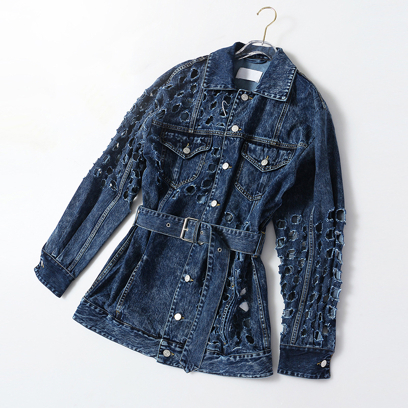 [EAM] Loose Fit Blue Hollow Out Big Size Denim Jacket New Lapel Long Sleeve Women Coat Fashion Tide Spring Autumn 2020 1Y720 5