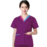 NEW style Color Blocking Scrubs Set Pure Cotton Short Sleeve Medical Uniforms Women Fashion Doctor Nurse Scrubs Top & Pants