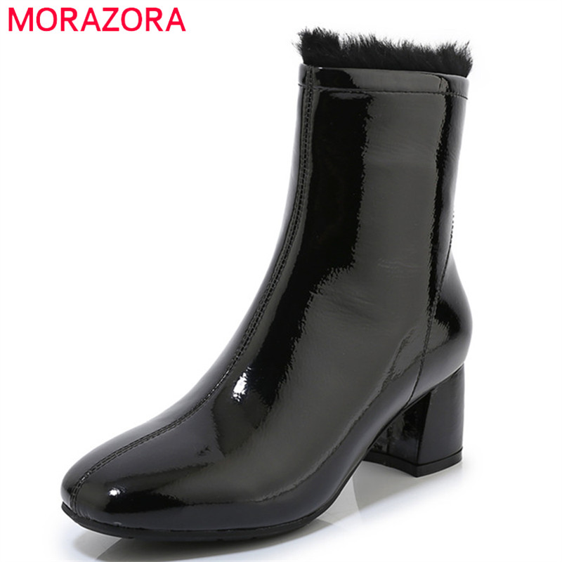 MORAZORA 2020 New Arrival Women Ankle Boots Patent Leather Round Toe Zip Winter Boots Square Heels Dress Party Shoes Ladies