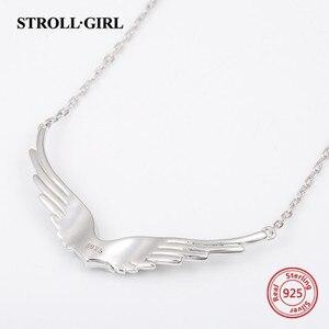 Image 2 - StrollGirl 천사 목걸이 깃털 체인의 새로운 925 스털링 실버 날개 여성을위한 diy 공예 패션 쥬얼리 2019 결혼 선물