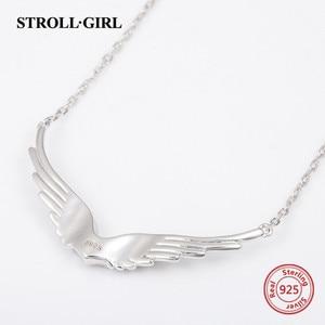 Image 2 - StrollGirl Nuovo 925 In argento Sterling ala di angelo della collana della catena della piuma del mestiere di diy dei monili di modo per Le Donne 2019 regali di Nozze