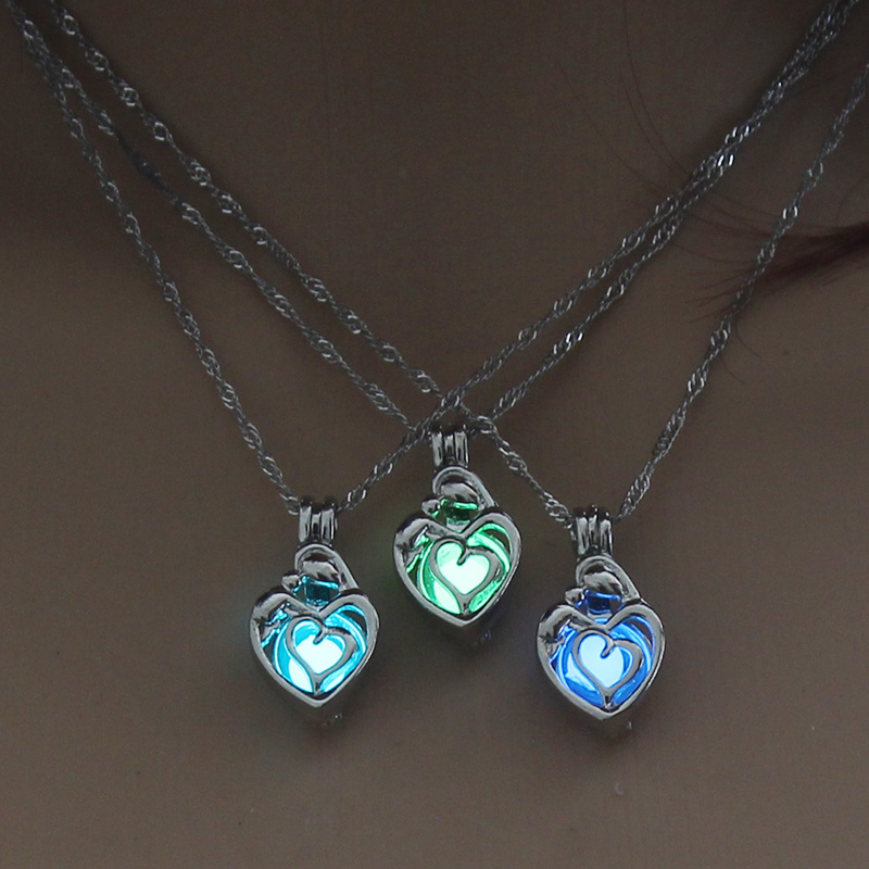 H8b0eaadfccfb4610ae3e2864e884c74eJ - 3 Colors Glowing In The Dark Lotus Flower Shaped Pendant Necklace Charm Chain Delicacy Necklace Luminous Party Jewelry Women