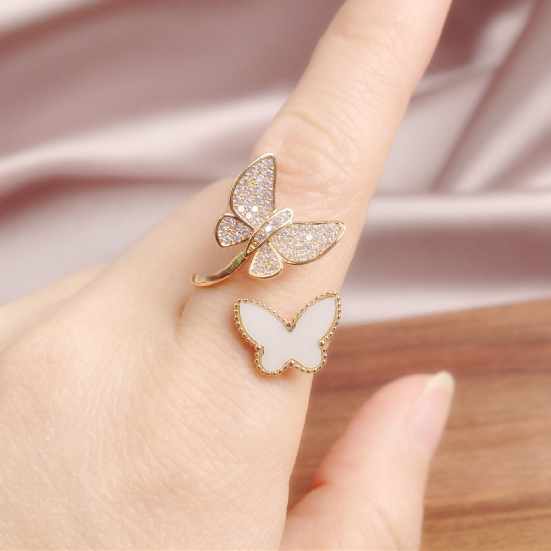Female Ring Jewelry Shells Zircon Opening Copper Butterfly Korean Delicate New-Fashion
