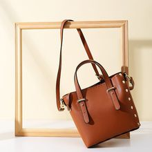 Vento Marea Retro Crossbody Rivet Bucket Bags Women Square Pattern Brown Handbag Casual Shoulder Messenger Bag Ladies PU Purse