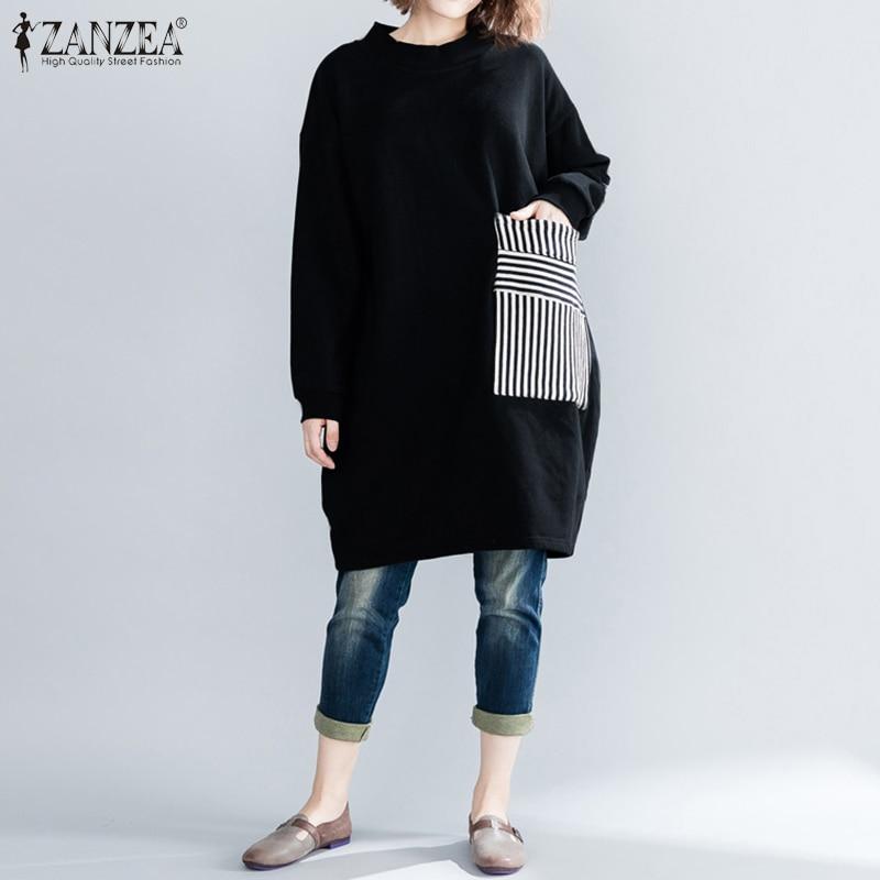 ZANZEA Women Pullovers Casual Autumn Winter Sweatshirt Hoodies 2019 Vintage Ladies Patchwork Stripe Pockets Tops Sudadera Mujer