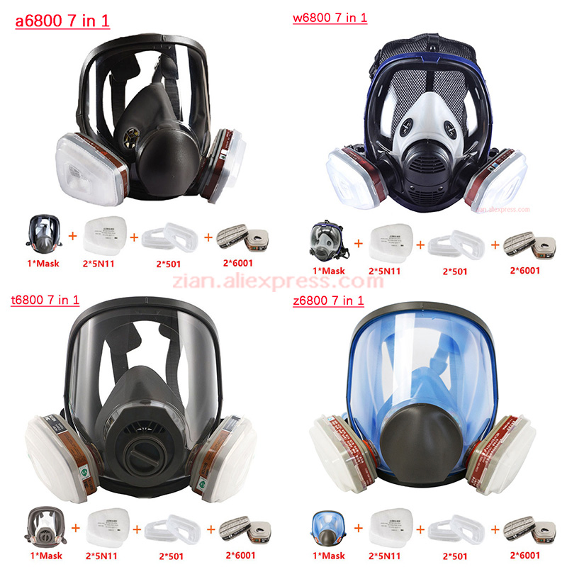 7 In 1 Chemcial Painting Spraying Silicone Gas Mask Full Face 6800 Mask Anti-dust Filter Organic Gas Protect Industry Respirator