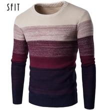 SFIT осенне-зимний брендовый мужской свитер с o-образным вырезом, полосатый тонкий мужской Повседневный свитер с длинным рукавом в стиле пэчворк, Мужская тонкая одежда