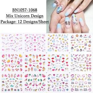 Image 2 - Adesivos de flamingo para unhas 12pçs, adesivos bonitos de desenho animado para decoração de unha de manicure, ferramentas decalque de água, decoração para unhas JIBN1057 1068