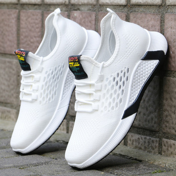2021 new sports shoes men's breathable casual mesh shoes comfort increase lace-up non-slip low-top running shoes 3