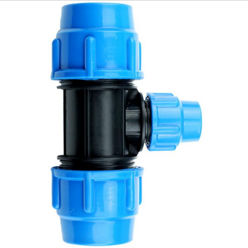 32mm To 20mm To 32mm Diameter Plastic Quick Connector T Type Blue Black Caps Adapter PE Pipe Fittings For Irrigation