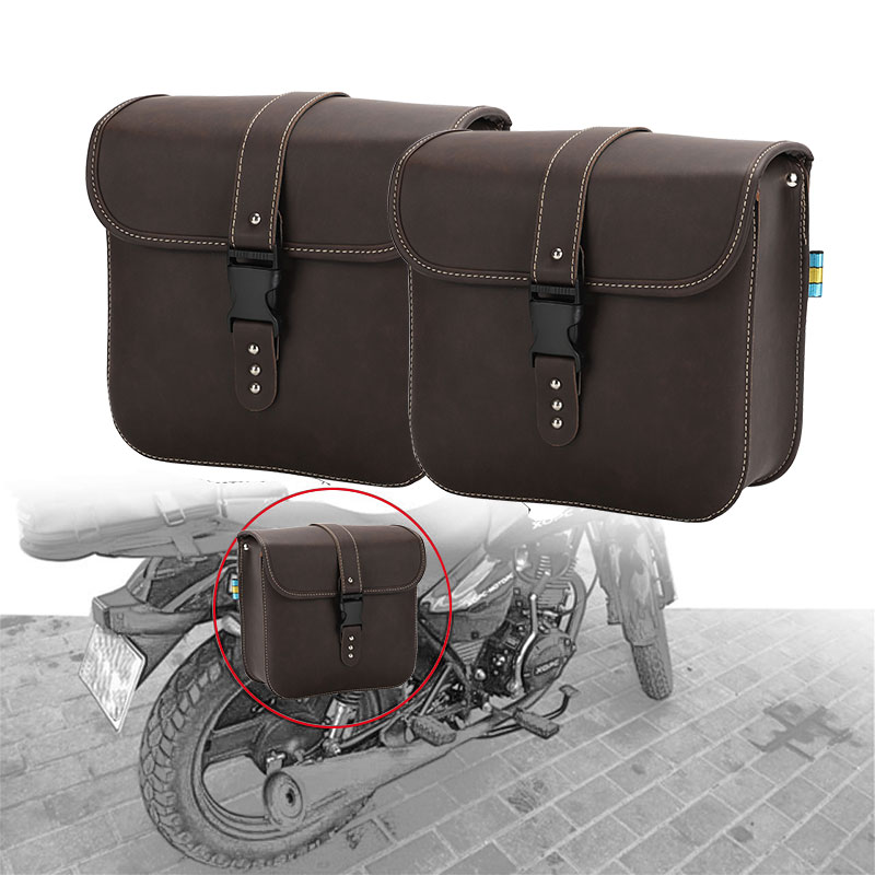 DERI 1Pair Motorcycle PU Leather Side Bag Saddle Left and Right for Harley Dyna Street Bob Fatboy  Saddlebags