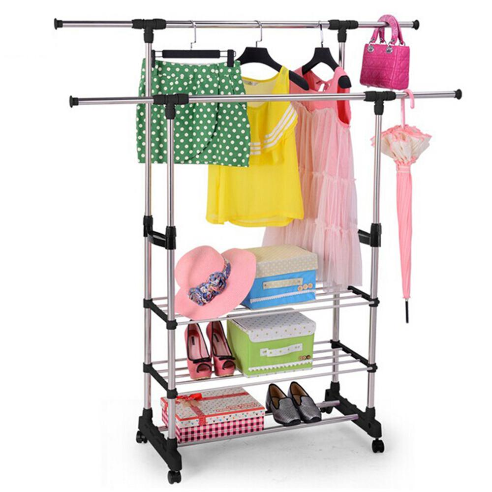 Extendable Standing Clothes Hanger With Casters Shoes Rack Clothes Dryer Folding Floor Drying For Clothes